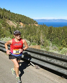 The Lake Tahoe Relay Team Challenge consist of 7 people, each running approximately 8 to 12 miles.