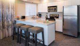 Perfect for long stays, the Deluxe One Bedroom Suite features a fully-equipped kitchen to cook yourself delicious meals.