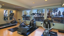 Our fitness room, perfect for cardio and weight training, allows you to break a sweat with a view of Lake Tahoe.
