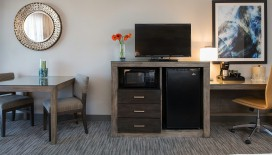 The King Great Room comes with everything you need for a comfortable stay, including a mini-fridge and coffee maker.
